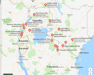 East African Map showing national parks