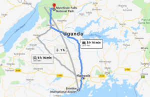 Distance from Entebbe airport to Murchison Falls Park